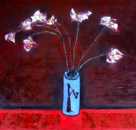 Tĩnh vật hoa phù dung sơn dầu trên canvas 20 x 22 in đinhcường