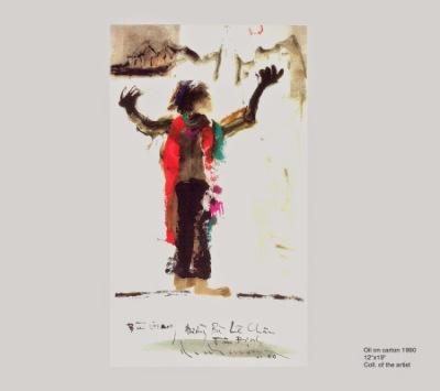 Bùi Giáng đứng múa gần cà phê Huy Tưởng đường Bà Lê Chân - Tân Định sơn dầu trên giấy . đinhcường