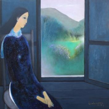 Thiếu nữ chiều ngoài cửa sổ miền đồi núi sơn dầu trên canvas 40 x 40 in đinhcường 10 - 2014