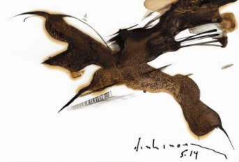 Cánh chim chiều mực đen trên giấy dinhcuong
