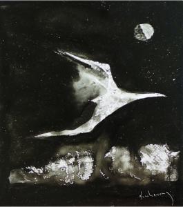 Nhạn và ánh trăng mực đen trên giấy đinhcường