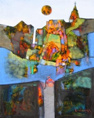 Sáng mai Đà Lạt sơn dầu trên canvas 24 x 30 in đinhcường