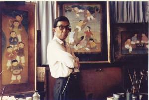 Mai Trung Thứ trong xưởng vẽ tại Vanves - Pháp năm 1964