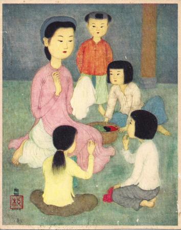 Mẹ dạy thêu thùa  (tranh được UNICEF in để bán giúp cho quỹ  của Hội trẻ em trên thế giới)