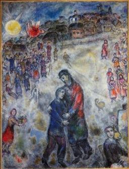 Chagall về xóm gặp con sơn dầu trên canvas