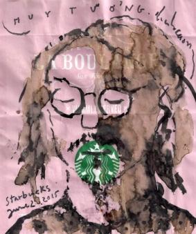 Nhớ Huy Tưởng màu loang cà phê trên giấy gói bánh Starbucks đinhcường - June 2, 2015