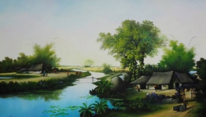 Tranh làng quê Việt Nam nguồn: Internet