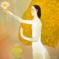 Thiếu nữ với hoa sen tranh Nguyễn Trung