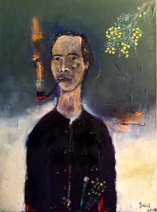 ĐINH CƯỜNG. 1986. NHÀNH MIMOSA VÀNG sơn dầu đinhtrườngchinh tháng 4.2016