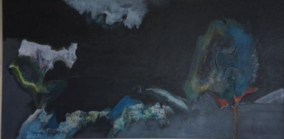 Nocturne, tranh Võ Đình, chất liệu acrylic trên ván ép, thực hiện vào thập niên 1980. (sưu tập của gđ Trương Hồng Sơn)