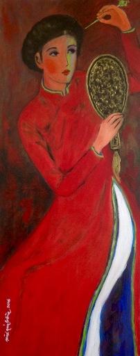 Áo đỏ tranh Mùi Quý Bồng July 2016