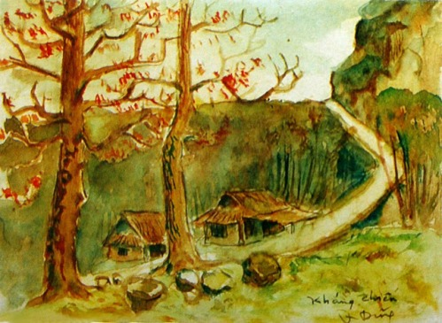 Image result for tranh của nhà thơ quang dũng